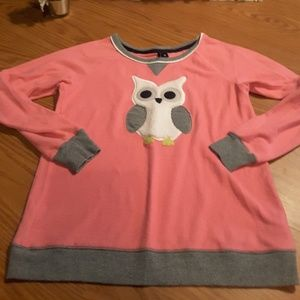Kensie pink grey owl long sleeve sweatshirt size S